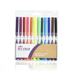 Wilko Thick and Thin Markers 12pk