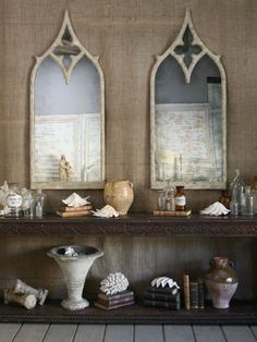 Gothic Rouen French Style Mirrors would work well in a double bathroom or on either side of a marble fireplace