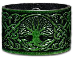 Leather Bracelet Embossed 48mm Celtic Tree of Life (8) Antique-green with Snap Fasteners (Nickel Free) (19 Centimeters). Width: 48mm, Thickness: approx 3mm. Snap Fastener: Brass, Finish antique-nickel (nickel free). Color: antique-green. Material: veg-tanned full grain leather (cowhide). Length = wrist size + 2.5cm (see product description).
