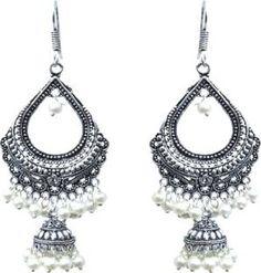 Waama Jewels white Fashion Jewellery For womens Office Wear Bollywood style Pearl Brass Dangle Earring