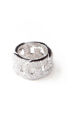 Pave Link Ring by Adam Marc