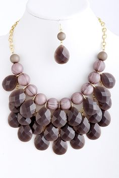 J. Crew Inspired Droplet Statement Necklace and Earrings - 8 Color Options at VeryJane.com #necklace