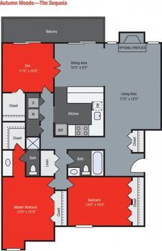 TGM AUTUMN WOODS APARTMENTS | 3 bedroom floorplan
