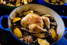 Chicken on a nest of thyme in the Le Creuset Braiser.