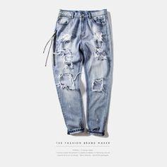 Mens Jeans Brand INFLATION 2016 Hip Hop Autumn Ripped Jeans For Men Light Blue Color Jeans