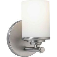 Buy the Forte Lighting Brushed Nickel Direct. Shop for the Forte Lighting Brushed Nickel Single Light Wide Bathroom Sconce with Satin Opal Glass Shade and save. Bathroom Sconces, Bathroom Vanity Lighting, Wall Sconce Lighting, Wall Sconces, Bathroom Ideas, Bathrooms, Light Bathroom, Bath Ideas, Kitchen Lighting