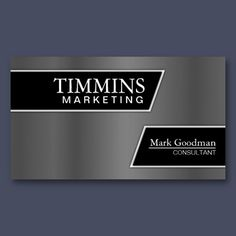 Marketing Business Card - Stylish Silver & Black  For more designs like this, visit www.pamsdesigns.ca or message pamsdesigns@live.ca.
