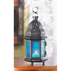 "Blue Stained Glass Punched Metal Moroccan garden Lantern Candle holder 10"" Blue Moroccan Lantern"