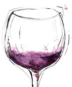 Wine glass Art Drawing __[Via Etsy by LyonRoad] #cPurples
