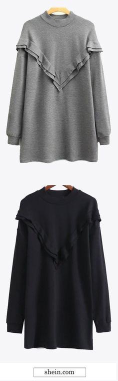Casual long sleeve sweatshirt dress collect.