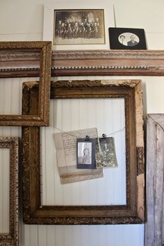 Curious Details:  Styling tip * Think outside the frame. We used vintage photographs and paper ephemera clipped to the existing wire to create this unique grouping.