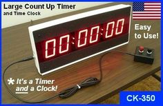LED Large Digital Stopwatch Timer by Electronics USA counts up, and displays Minutes, Seconds, and Hundredths of Seconds. Designed and assembled in the USA. Count Up Timer, Digital Timer, Time Clock, Digital Alarm Clock, Remote, Led, Electronics, Pilot