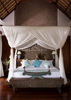 If you wanted to stay in bed & write, this would be the bed.  In Bali.  #amwriting (but on a couch in LA)
