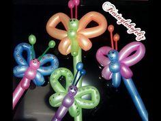 蝶 a balloon butterfly Balloon Topiary, Balloon Hat, Balloon Crafts, Balloon Garland, Balloon Arch, Balloon Decorations, Butterfly Balloons, Balloon Flowers, Easy Balloon Animals