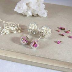 Real flower earrings heather gypsophila by NatureOfArtJewelry