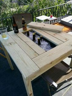 Pallet Projects Patio Table by TheAtticWoodshop on Etsy - Backyard Patio, Diy Patio, Rustic Patio, Patio Roof, Outdoor Furniture, Outdoor Decor, Outdoor Bars, Wooden Pallet Furniture, Pallet Wood