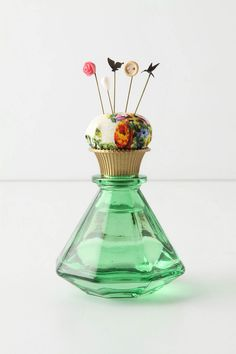 pretty little perfume bottle pin cussion