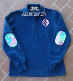 Monogrammed Quarter Zip Sweatshirt with Lilly Pulitzer Elbow Patches Coral Diamond Font with Checking In Blue Fabric on Navy Preppy Girl, Preppy Style, My Style, Monogram Pullover, Fall Outfits, Cute Outfits, Preppy Outfits, Southern Outfits, Elbow Patches