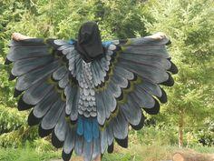 Owl Eagle Bird Wings Cloak Hand Painted Halloween by islesofday