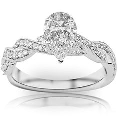 1.13 Carat Pear Cut / Shape GIA Certified Vintage / Antique Twisting Split Shank Diamond Engagement Ring With...