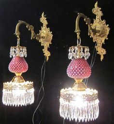 pair LG antique Fenton Cranberry Glass Bronze Brass Sconces wall hanging lamps crystal $1467?? No way.