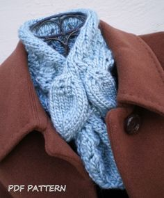 PDF Knitting Pattern - Leaves Scarf / Ascot from Etsy Shop ohmay ($6.00)