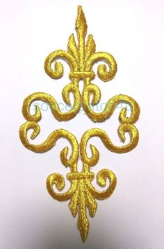 Gold Metallic Embroidery Patch Lace Applique Motif Dance Costume Dressing x 1PR in Crafts, Sewing & Fabric, Sewing | eBay