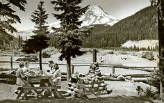 1950s Mount Hood Loop wayside at White River, Oregon