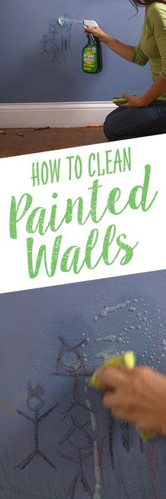 Maintain that freshly-painted look on your walls by keeping them clean and free of dust, fingerprints, stains and smudges with Simple Green All-Purpose Cleaner. It's important to use a non-abrasive cleaning solution that won't discolor or diminish your pa Cleaning Painted Walls, Cleaning Walls, Green Cleaning, Spring Cleaning, Household Cleaning Tips, Cleaning Recipes, House Cleaning Tips, Norwex Cleaning, Cleaners Homemade