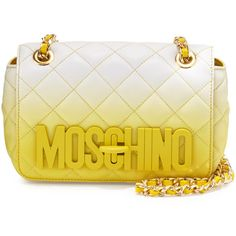 Moschino Medium Ombre Quilted Shoulder Bag ($1,375) ❤ liked on Polyvore featuring bags, handbags, shoulder bags, yellow, woven leather handbag, chain strap shoulder bag, quilted leather purse, shoulder strap bag and leather purse