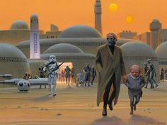 BOOK: This painting comes from the Mos Eisley Cantina Pop-up Book. It shows the exterior of the Mos Eisley Cantina, and an Imperial stormtrooper appears to be following a couple suspicious characters who have just left the Cantina. You can spot a landspeeder, an R5 unit, and possibly Greedo in the background.
