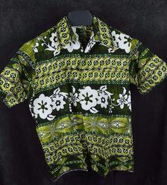 Lauhala Large Barkcloth VGC Vintage Green big collar made in Hawaii Aloha