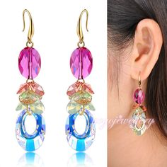 Mytys   2017 Colorful Charm Crystal Hook Drop Earrings  Gold Plated Womens Gift  Jewelry CE96