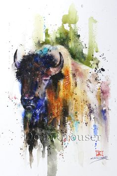 BUFFALO Watercolor Print by Dean Crouser by DeanCrouserArt on Etsy
