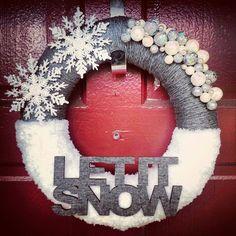 Let it Snow - Yarn Wrapped Wreath.
