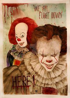 Old and new Pennywise Le Clown, Creepy Clown, Creepy Art, Clown Mask, Es Stephen King, Steven King, Horror Icons, Horror Art, Horror Decor