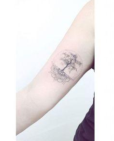 tatuagem árvore da vida com mandala