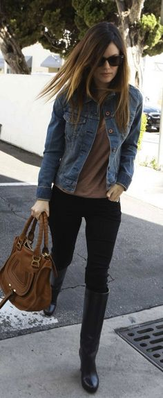 Need a cute jean jacket like this to wear over dresses for work.