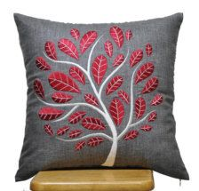 Red Peacock Pillow Cover, Decorative Throw Pillow Cover 18 x Ash Grey Linen Pillow Red Tree Embroidery, Grey Pillow , Red Cushion Red Cushions, Grey Pillows, Floral Pillows, Linen Pillows, Grey Pillow Covers, Cushion Covers, Peacock Pillow, Sewing Pillows, Quilted Pillow