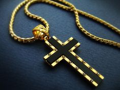 "1.57"" Mens Cross Pendant necklace 18K Gold Plated Mens Black Onyx Cross Chain Necklace Cubic Zirconia 24B"