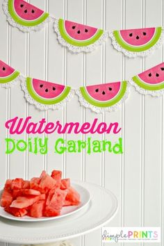 Printable Watermelon Doily Garland, DIY Watermelon Crafts and Activities Your Kids Will Want to Do. There are so many great watermelon crafts and sensory activities for preschoolers and toddlers to choose from. Watermelon Birthday Parties, Fruit Party, First Birthday Parties, First Birthdays, Fruit Fruit, Watermelon Party Decorations, Watermelon Crafts, Fruit Crafts, Diy Crafts