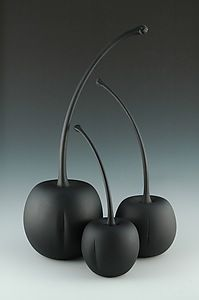 glass blasted black cherries created by donald carlson