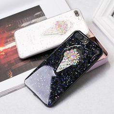 Colorful Summer Ice Cream Phone Case For iPhone 6 Gloss Bright Glitter Powder TPU Soft Silicon Cover Coque For iPhone 6 6s 7Plus