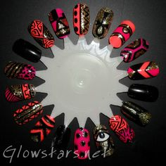 Nail Art Designs - bright colors with gld