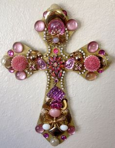 Pink and Gold vintage jeweled cross by Idratherbeshelling on Etsy