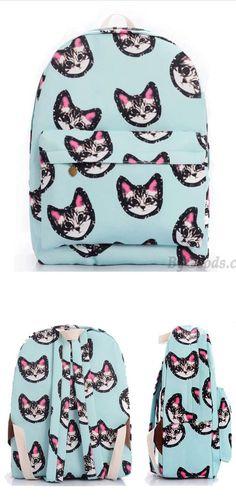 So cute backpack ! Light Blue Sweet Lovely Kitten Printing Canvas School Bag Satchel Backpack #backpack #college #school #rucksack #canvas #cat #animal #kitty #kitten