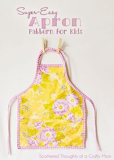 Super Easy Child's Apron FREE Printable Pattern!! #scatteredthoughtsofacraftymom