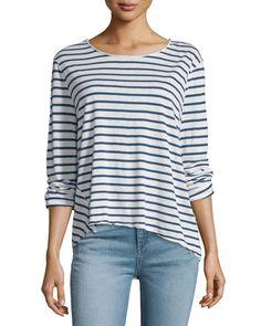 RAG & BONE Ash Long-Sleeve Striped Top, Indigo/White. #ragbone #cloth #