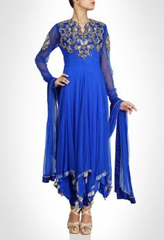 Blue Anarkali at Kimaya