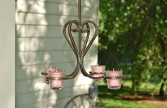 Wrought Iron Chandelier, Iron Votive Candle Chandelier, 4 Candle Chandelier, Wedding Chandelier, Outdoor Chandelier, Shabby Chic - SOLD!